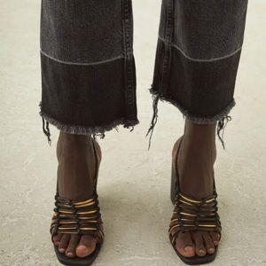 Rachel Comey Black & Gold Kross Leather Sandal